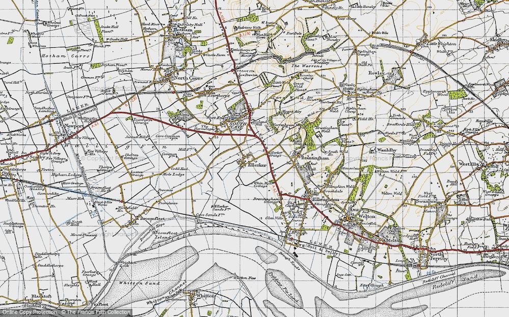 Old Map of Ellerker, 1947 in 1947