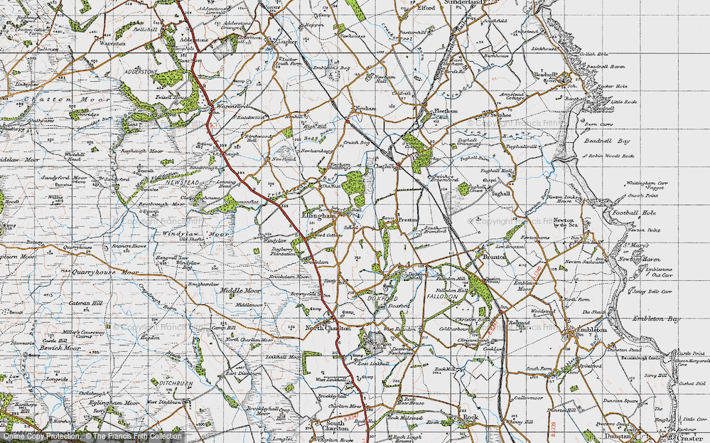 Old Map of Historic Map covering Wood Cott in 1947