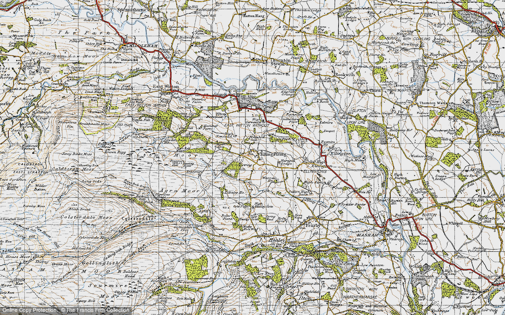 Old Map of Historic Map covering Bales Ho in 1947