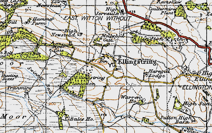 Old map of Jervaulx Abbey in 1947