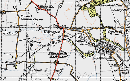 Old map of Ellington in 1947