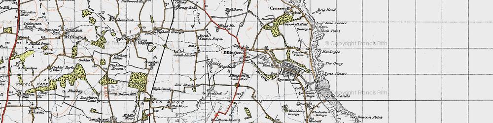 Old map of Ellington in 1947