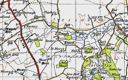 Old map of Willingham Hall in 1946