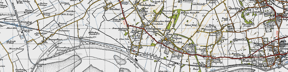 Old map of Elloughton in 1947