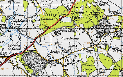 Old map of Elm Corner in 1940