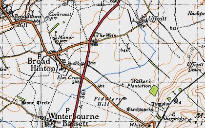 Old map of Elm Cross in 1947