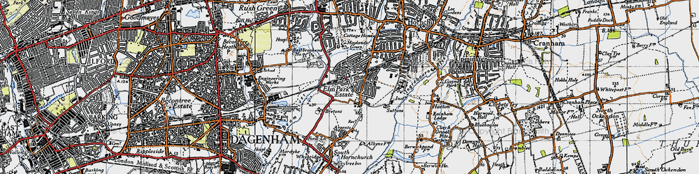 Old map of Elm Park in 1946