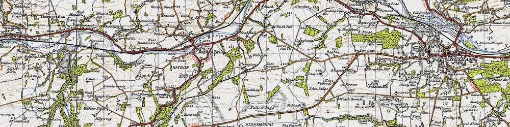Old map of Yellow Rigg in 1947