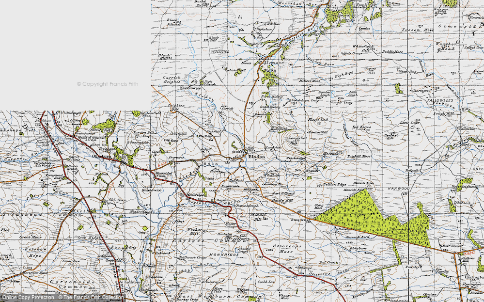 Old Map of Historic Map covering Leech-hope Crag in 1947