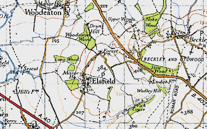 Old map of Wick Copse in 1946