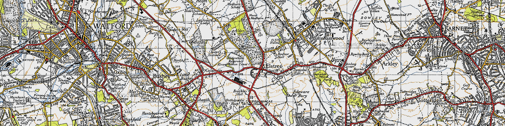 Old map of Aldenham Country Park in 1946