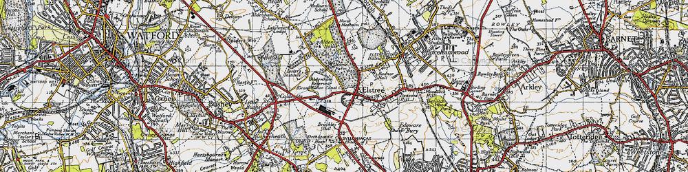 Old map of Aldenham Resr in 1946