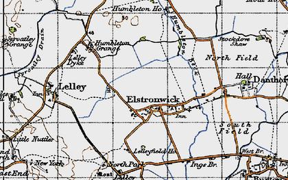 Old map of Lelley Grange in 1947