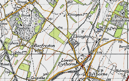 Old map of Elvington in 1947