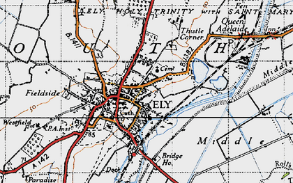 Old map of Ely in 1946