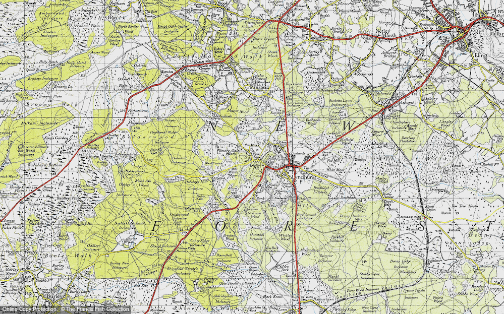 Old Map of Historic Map covering Acres Down in 1940