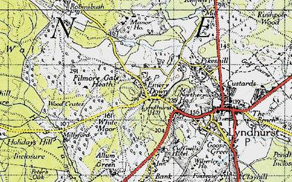 Old map of Emery Down in 1940
