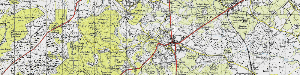 Old map of Acres Down in 1940