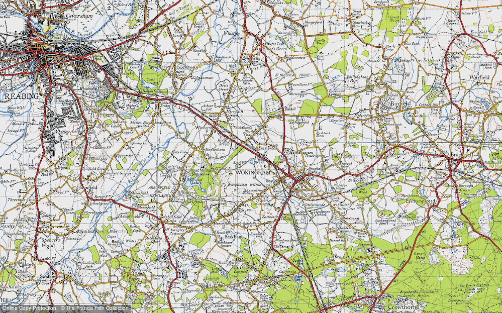 Old Map of Historic Map covering Woose Hill in 1940