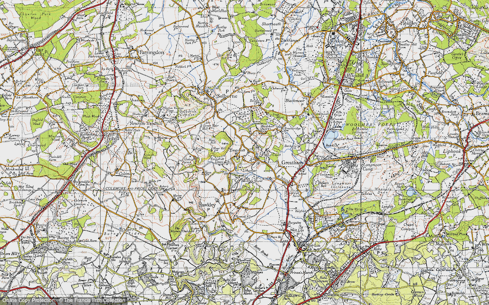 Old Map of Historic Map covering Le Court in 1940