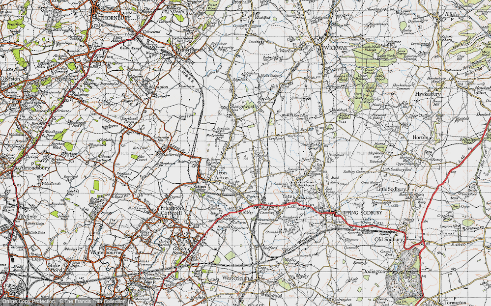 Old Map of Historic Map covering Acton Lodge in 1946