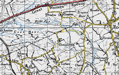Old map of Enniscaven in 1946