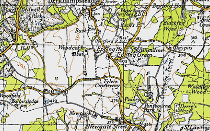 Old map of Woodcock Lodge in 1946