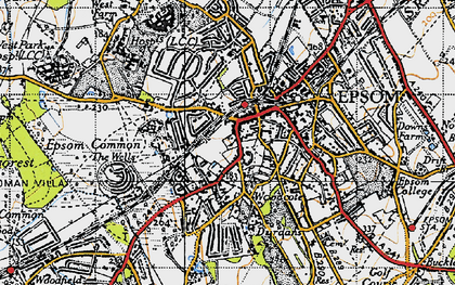 Old map of Epsom in 1945