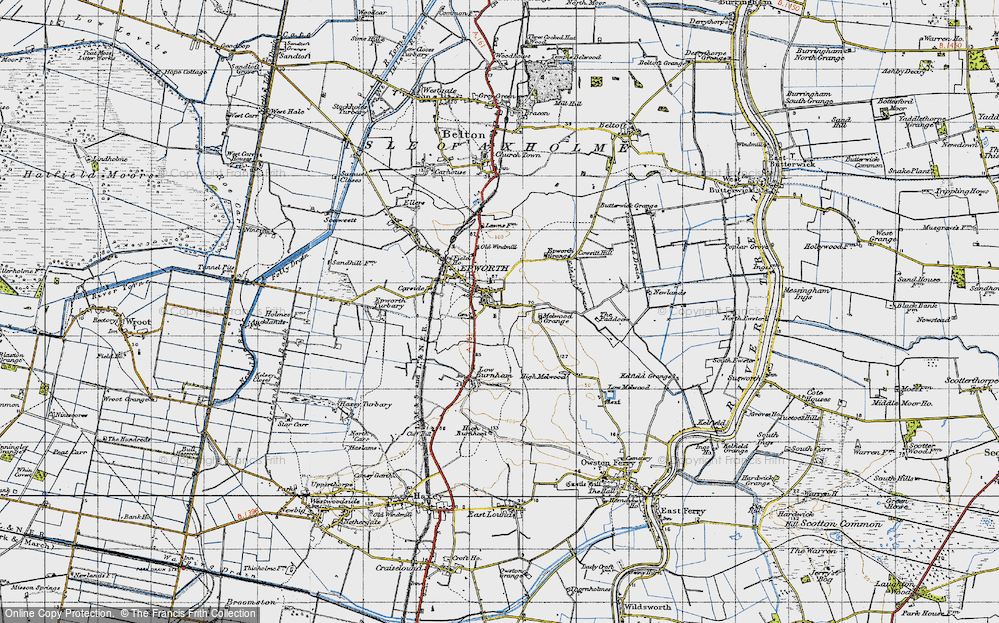 Old Map of Epworth, 1947 in 1947
