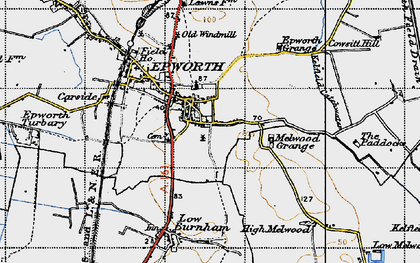 Old map of Epworth in 1947