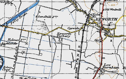 Old map of Epworth Turbary in 1947