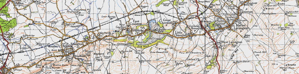 Old map of Erlestoke in 1940