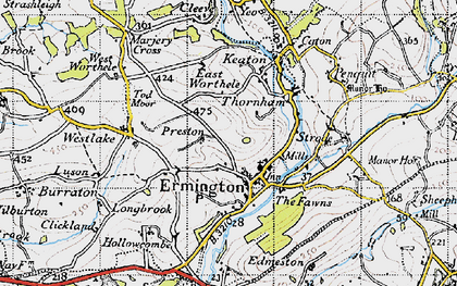 Old map of Ermington in 1946