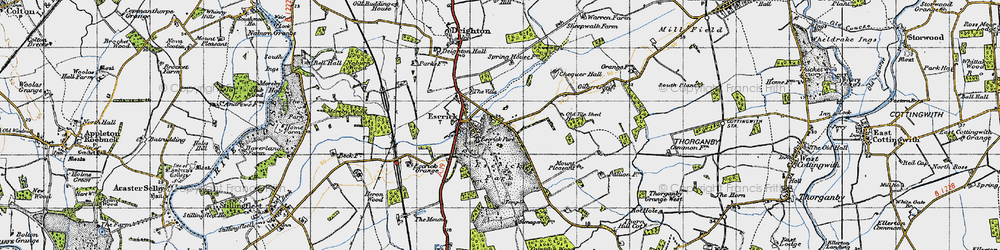 Old map of Escrick in 1947