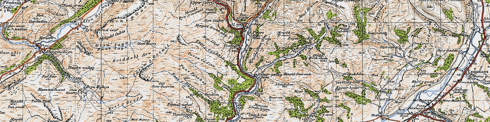 Old map of Esgairgeiliog in 1947