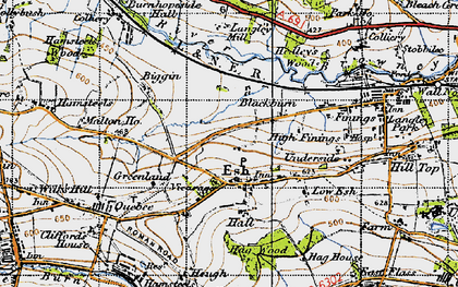 Old map of Langley West Ho in 1947