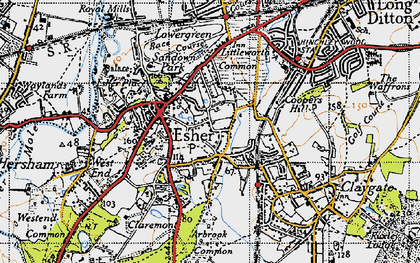 Old map of Esher in 1945