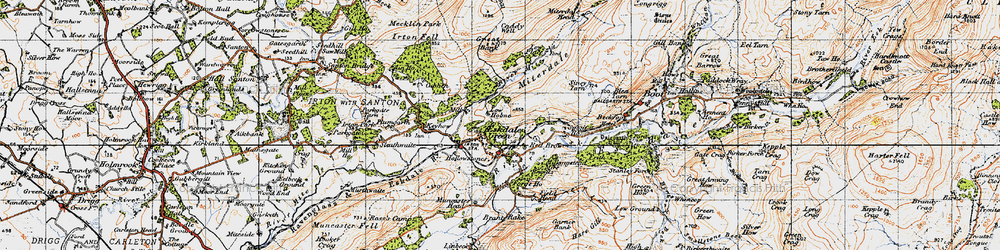 Old map of Eskdale Green in 1947