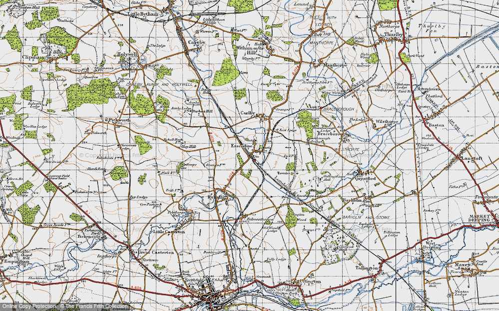 Old Map of Historic Map covering Tolethorpe Oaks in 1946