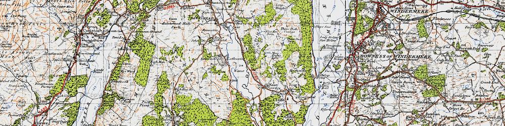 Old map of Esthwaite Water in 1947