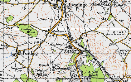 Old map of Etchinghill in 1947