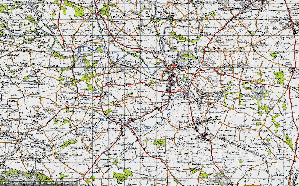 Old Map of Historic Map covering Woodhouses in 1947