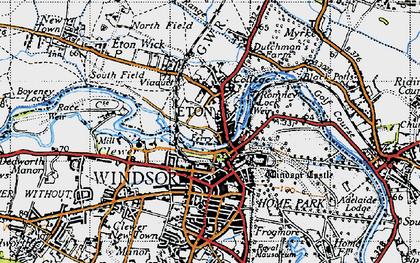 Old map of Eton in 1945