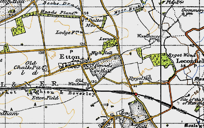 Old map of Etton Pasture School in 1947