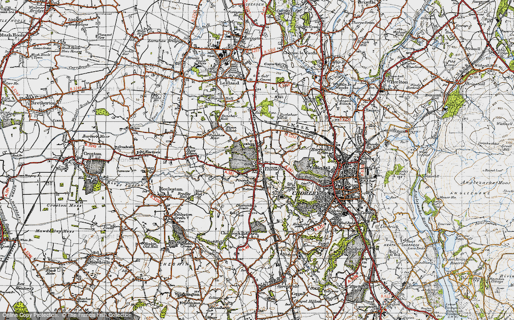 Old Map of Historic Map covering Woodcock Fold in 1947