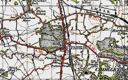 Old map of Euxton in 1947