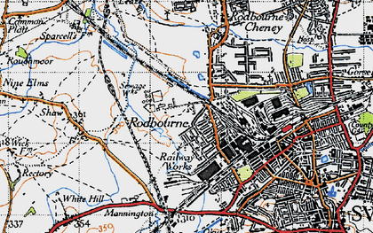 Old map of Even Swindon in 1947