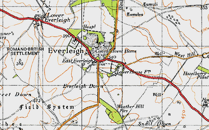 Old map of Everleigh in 1940