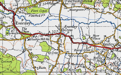 Old map of Eversley Cross in 1940