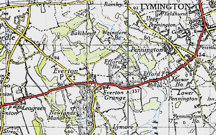 Old map of Everton in 1940